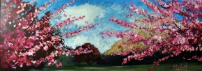 Timmy.Mallett.Cherry.Blossoms.II.acrylics.12x31.1995