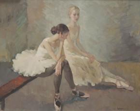 Katya Gridneva_Natasha and Alexandra awaiting rehersal_Oils_20x25.5_4.500_jpg