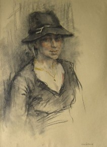 Valeriy Gridnev_Girl in a Hat_Charcoal and pastel_29.5x22.3.900.jpg