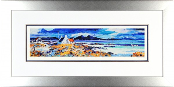 Jean Feeney_Boats on the Rocky Shore, Ardnamurchan_Framed 18x34
