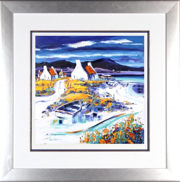 Jean Feeney_Signed Limited Edition Print_Boats on the Shore, Lewis_Framed 29x29