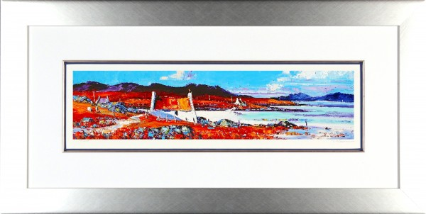 Jean Feeney_Signed Limited Edition Print_Shore Cottages, Barra_Framed 18x34