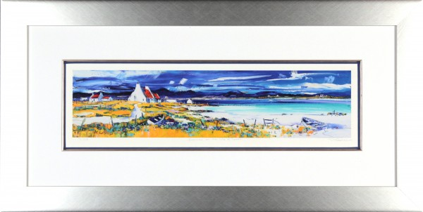Jean Feeney_Signed Limited Edition Print_Summer on the Isle of Lewis_Framed 18x34_Image size7x23