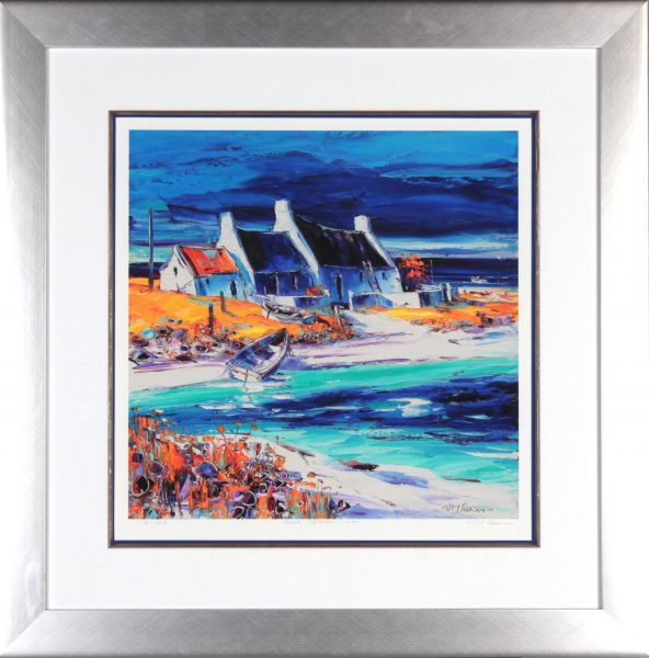 Jean Feeney_Signed Limited Edition Print_Sunlit Cottages, Tiree (Large)_Framed 29x29_Image 18.5x18