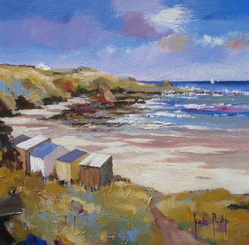 Kate Philp_Beach Huts_9x9