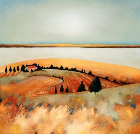 Lesley McLaren_Barn on the Hill_15x15.75