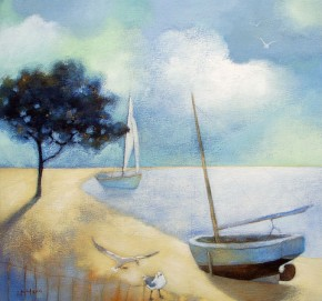 Lesley McLaren_Boats at Midday_8.5x9