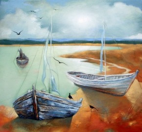 Lesley McLaren_Boats in Shallow Water_6x5.5