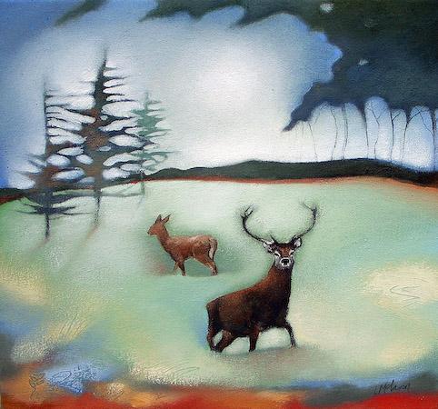 Lesley McLaren_Red Deer and Pines_6x5.5