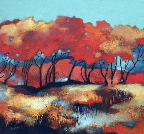 Lesley McLaren_Red Trees on a Bog_6x5.5