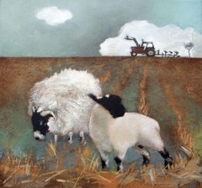 Lesley McLaren_Sheep in Stubble_6x5.5
