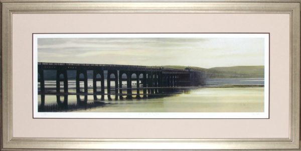 John Bell_Goden Light, The Tay Bridge_22x44.5_Framed Print