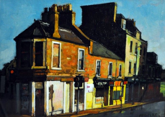 Joe McIntyre_Study, Summer in the City, Early Morning Sunlight, Logie St, Dundee_Oils