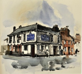sue.howells.ferry.inn.mixed.media.image.size.13x14inches