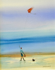 sue.howells.kite.flyer.mixed.media.image.size.18x14inches