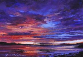11_Fiona Haldane_Crimson & Blue, Tay Estuary_Pastel_5x7
