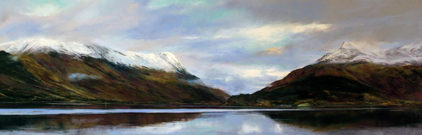 26_Fiona Haldane_Perfect Reflection,Loch Leven_Pastel_16x48