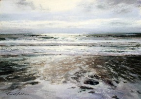 28_Fiona Haldane_Calm Waters, Mull of Kintyre_Pastels_5x7