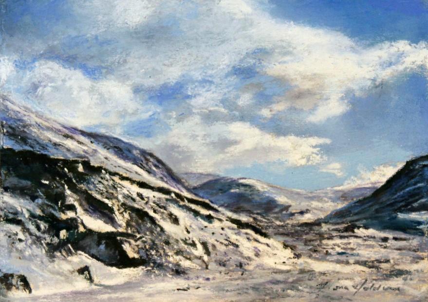 9_Fiona Haldane_Late Snowfall, Glen Shee_Pastle_5x7