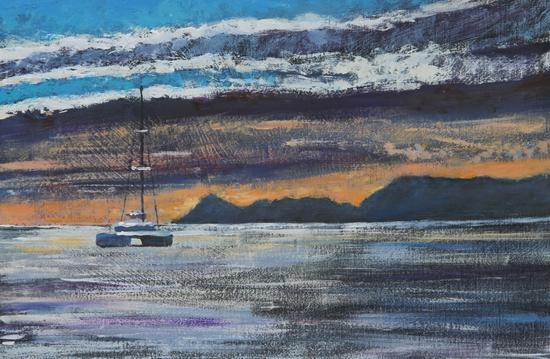 TIMMY MALLETT_ Catamrin Sunset_Oil on Board_8X12