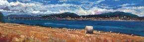 TIMMY MALLETT_Across the Tay_39X12_OIL ON BOARD