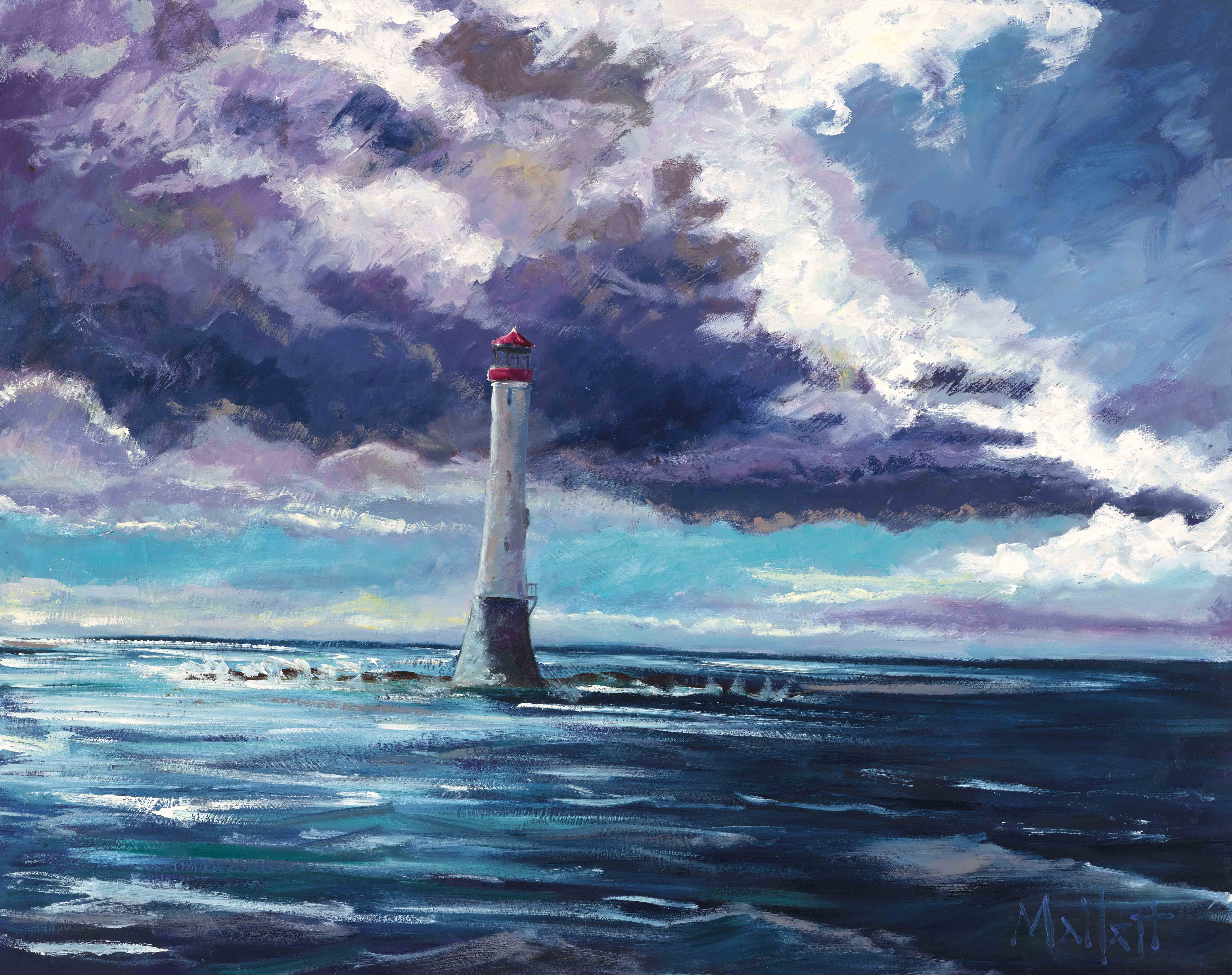 TIMMY MALLETT_Bell Rock Lighthouse_30X24_OIL ON BOARD