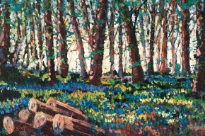 TIMMY MALLETT_Bluebell Logpile_30X20_OIL ON BOARD