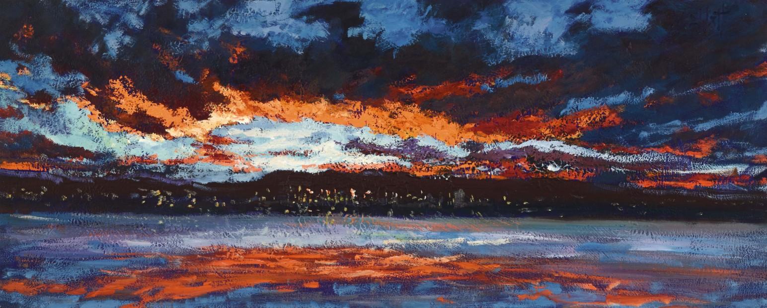 TIMMY MALLETT_Broughty Ferry Sunset_30X12_OIL ON BOARD