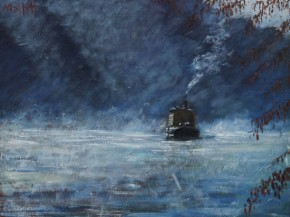 TIMMY MALLETT_Misty Morning Barge_Oil on Board_20x16