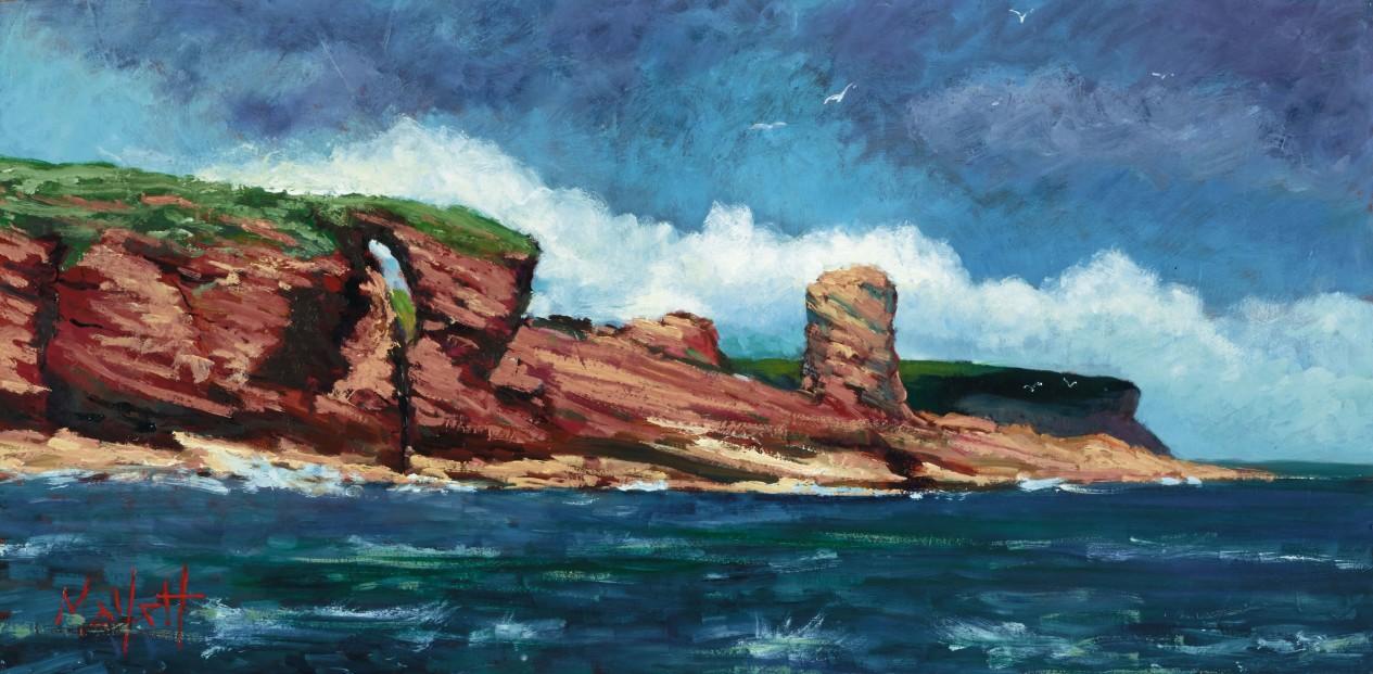 TIMMY MALLETT_Red Cliffs of Arbroath_24X12_OIL ON BOARD