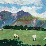 TIMMY MALLETT_Sheep on Mountains_24X20_OIL ON BOARD
