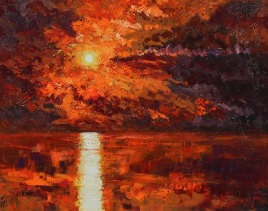 TIMMY MALLETT_Sunset Over the Sea_Oil on Board_20x23