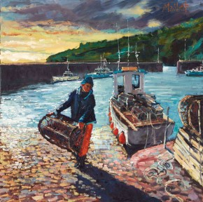 TIMMY MALLETT_The Lobster Fisherman_20X20_OIL ON BOARD