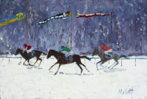 TIMMY MALLETT_The White Turf Races_Oil on Board_8x12