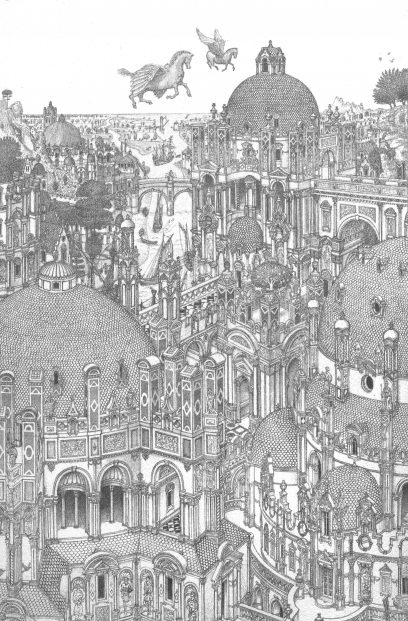 ALISTER.LINDSAY.City.Of.Domes.Litho.of.Pencil.Drawing.IMAGE.SIZE8X12INCHES.
