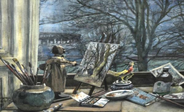 James McIntosh Patrick OBE RSA (1907-98)_The Little Artist. The artists Studio_Watercolour_12.25x16_4250