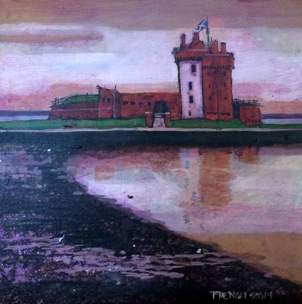 Stephen French_Broughty Castle II_Acrylics_8x8_350
