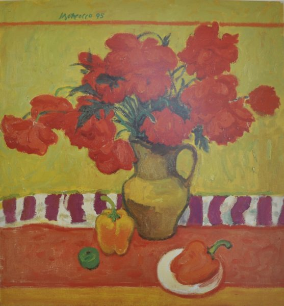 Alberto Morrocco_Red poppies and capsicums_12x11