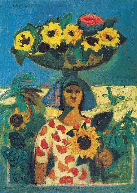 Alberto Morroco_Woman with Sunflowers_14x11