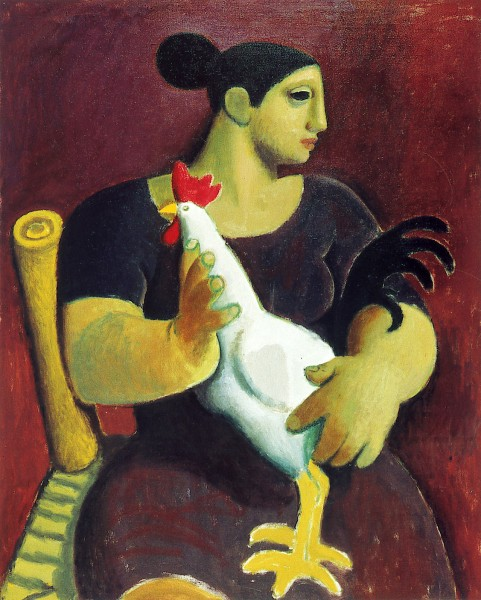 Alberto Morroco_woman with cockrel_12x10
