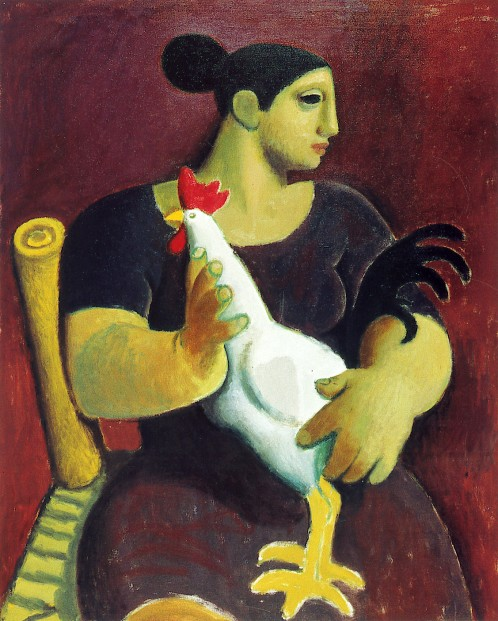 Alberto Morroco_woman with cockrel_12x10