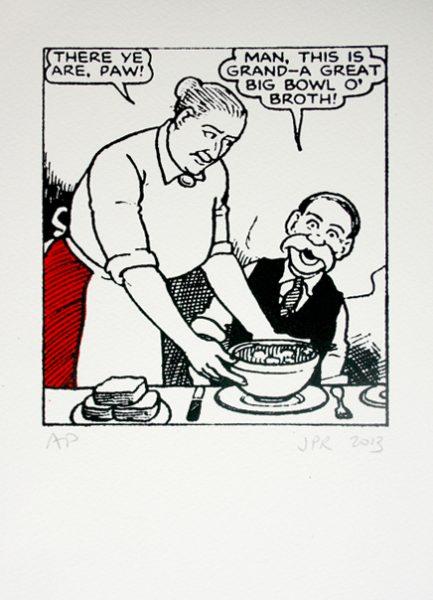 John Patrick Reynolds_Comic Art_Maw Broon gives Paw Broon a bowl of broth