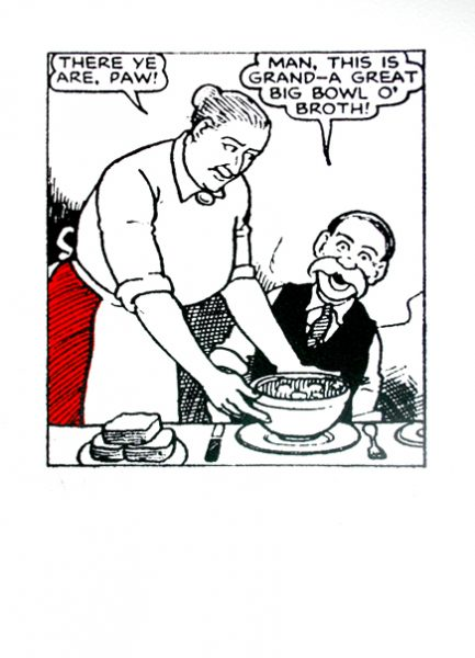 John Patrick Reynolds_Comic Art_Maw Broon gives Paw Broon a bowl of broth