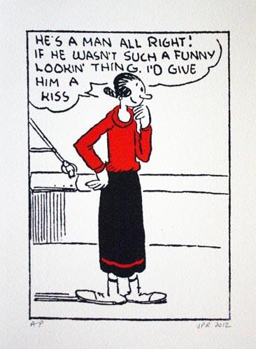 John Patrick Reynolds_Comic Art_Olive Oyl considers kissing Popeye