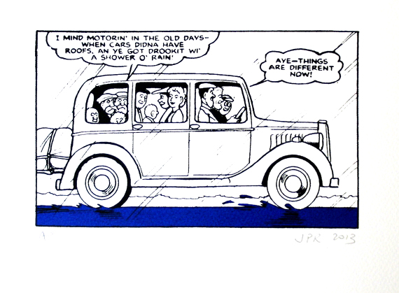 John Patrick Reynolds_Comic Art_The Broons go on a car ride