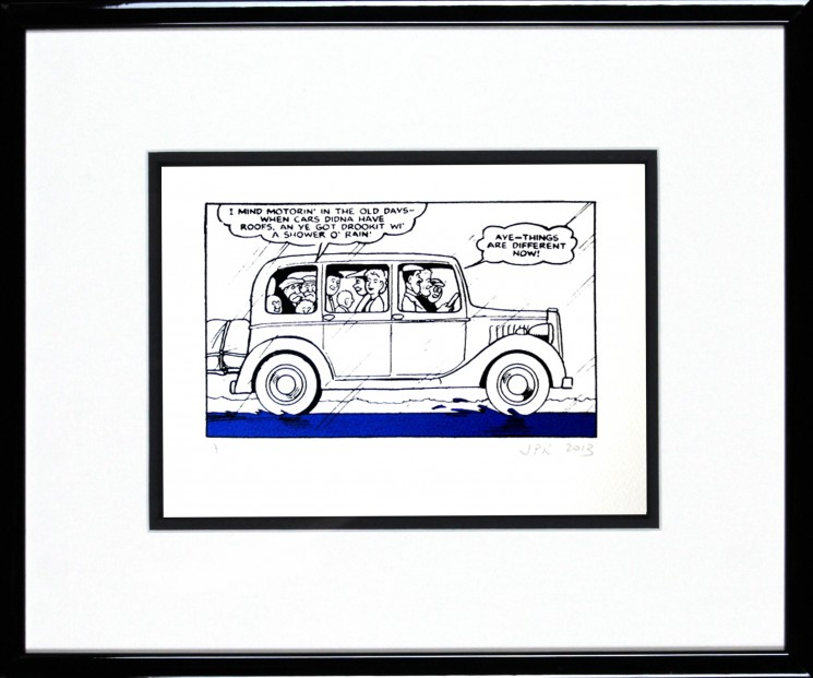 John Patrick Reynolds_The Broons go on a Car Ride_15x13_Framed