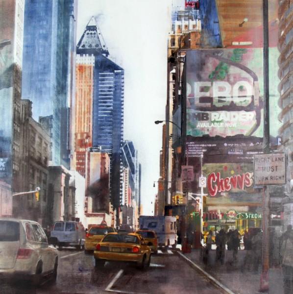 Talantbek Chekirov_NYC Down Town II_Acrylics_39x39