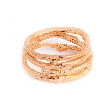 Wide Twig Ring - 18ct Rose Gold Vermeil