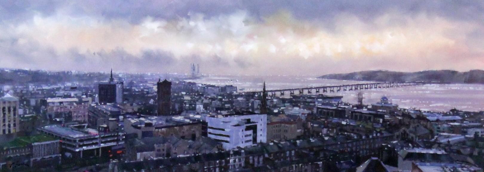 Joe Bowen_Rooftops, Dundee_Acrylic with resin varnish_15x40_950