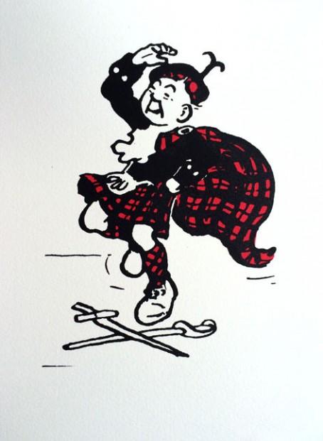 John Patrick Reynolds_Comic Art_Oor Wullie in Tartan Dances